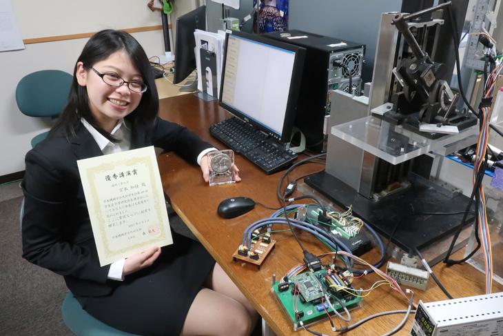 下戸研究室の宮本知佳さんが日本機械学会九州学生会学生員卒業研究発表会「優秀講演賞」を受賞