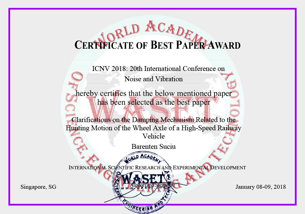 [知能機械工学科]数仲 馬恋典教授がICNV2018にて「Best Paper Award」を受賞