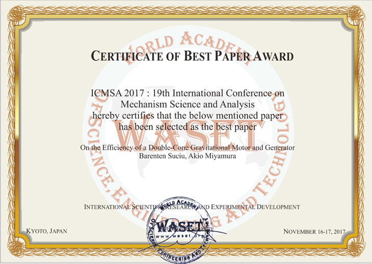 [知能機械工学専攻]数仲研究室 2年 宮村 晶夫さん 19th International Conference on Mechanism Science and Analysisにて『Best Paper Award』受賞