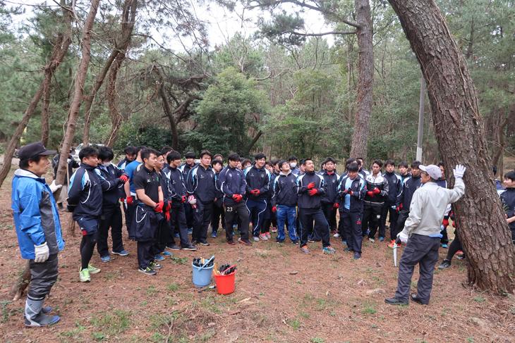 ラグビー部員53名がボランティアとして新宮海岸楯の松原の保全活動に参加!